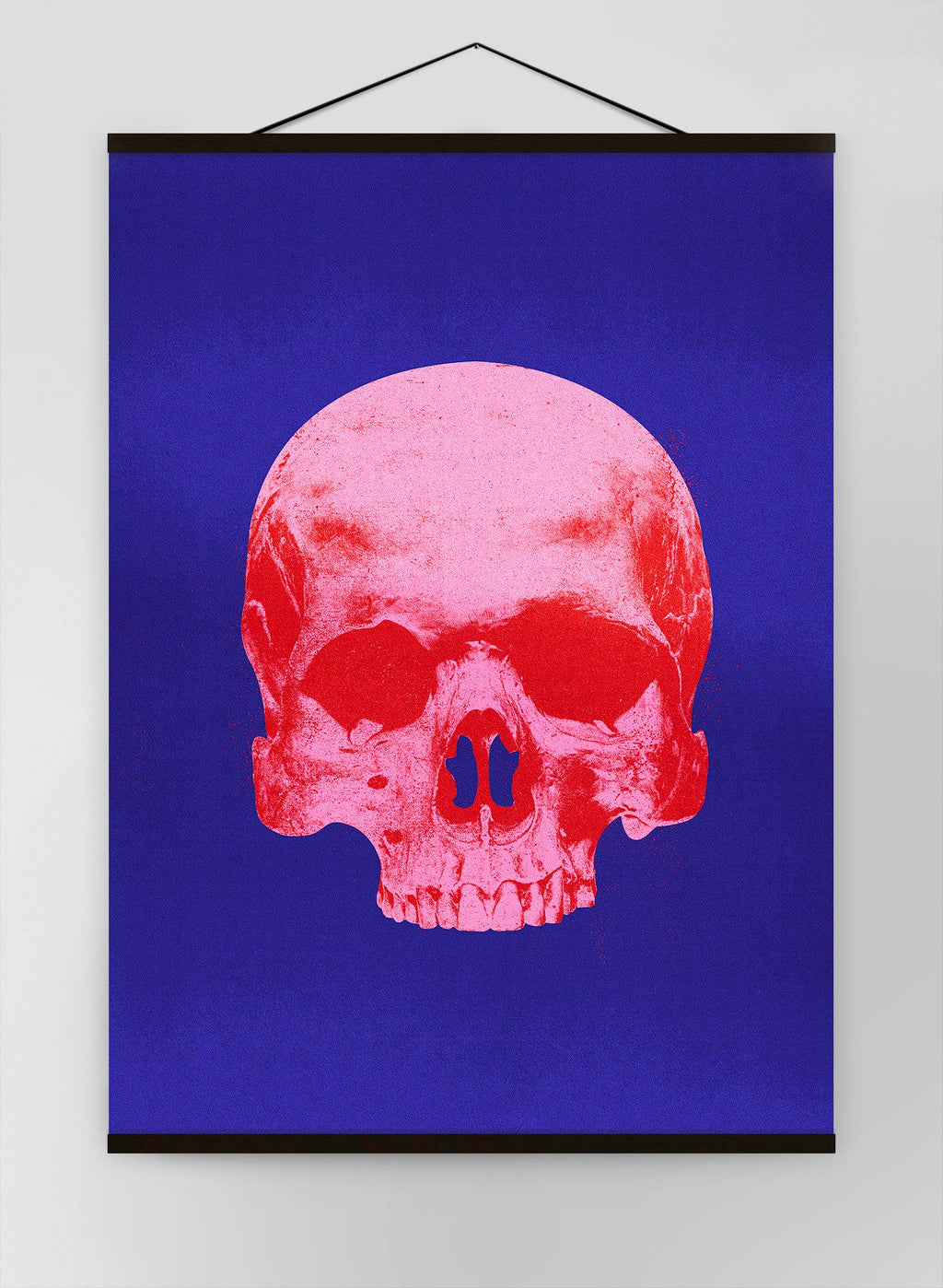 Pop Art Warhol Style Blue & Pink Skull Canvas