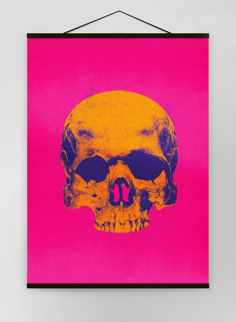 Pop Art Warhol Style Skull Pink & Orange Canvas
