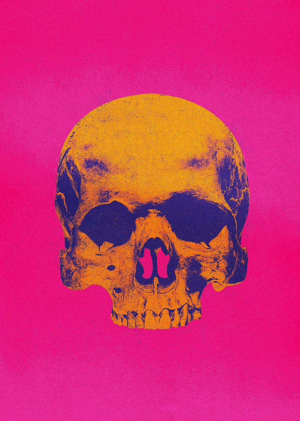 Pop Art Warhol Style Pink & Orange Skull Print
