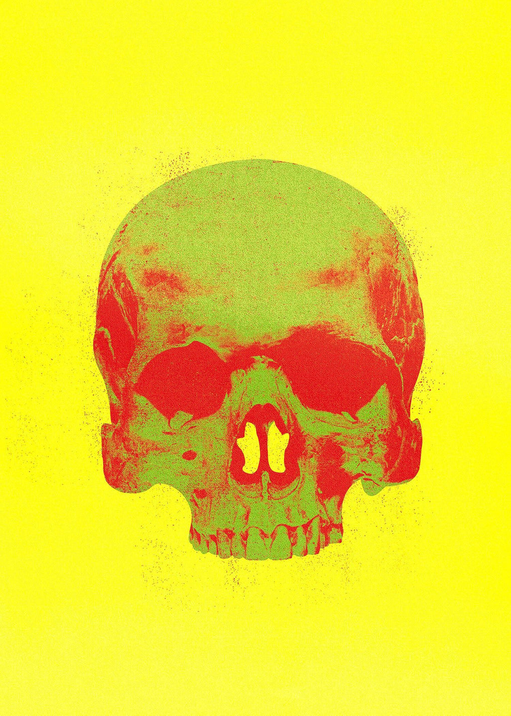Pop Art Warhol Style Yellow & Green Skull Print