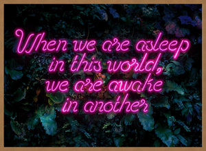 When We Are Awake Neon Leaves Print