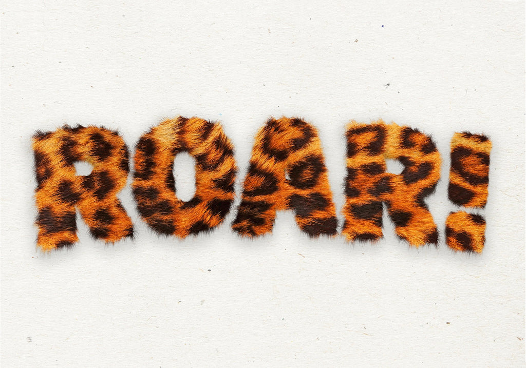 Roar Typographic Quote Tiger Pattern Print