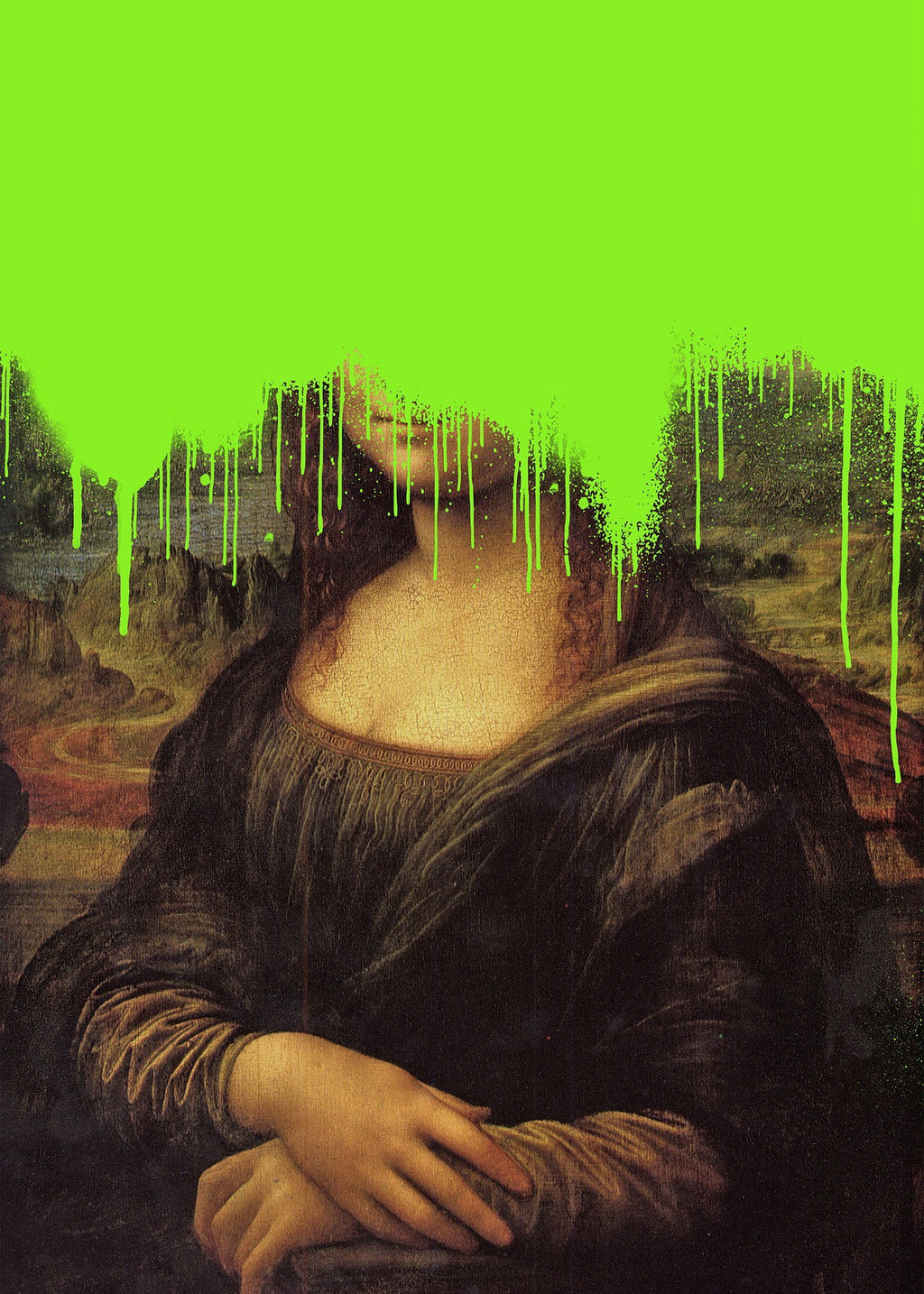 Drippy Mona Lisa Graffiti Print