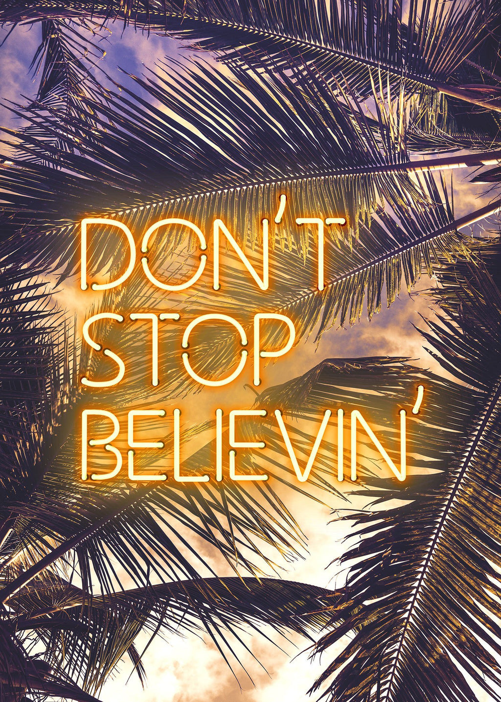 Dont Stop Believing Lyrics Neon Tropical Print
