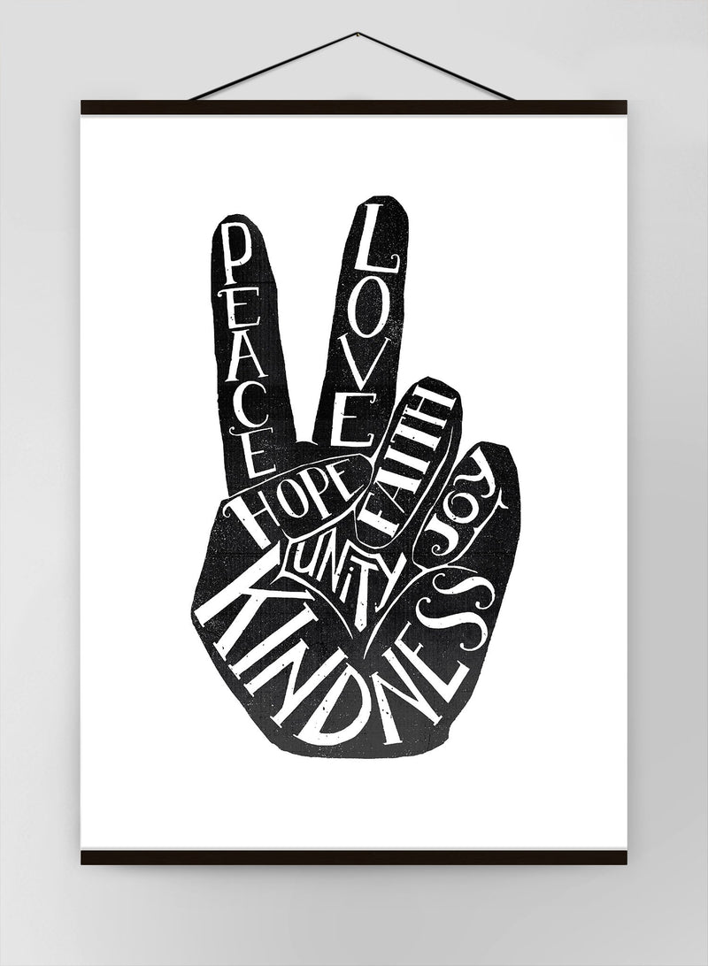 Peace Fingers Typography Canvas Print