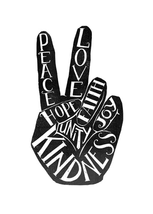 Peace Fingers Typography Print