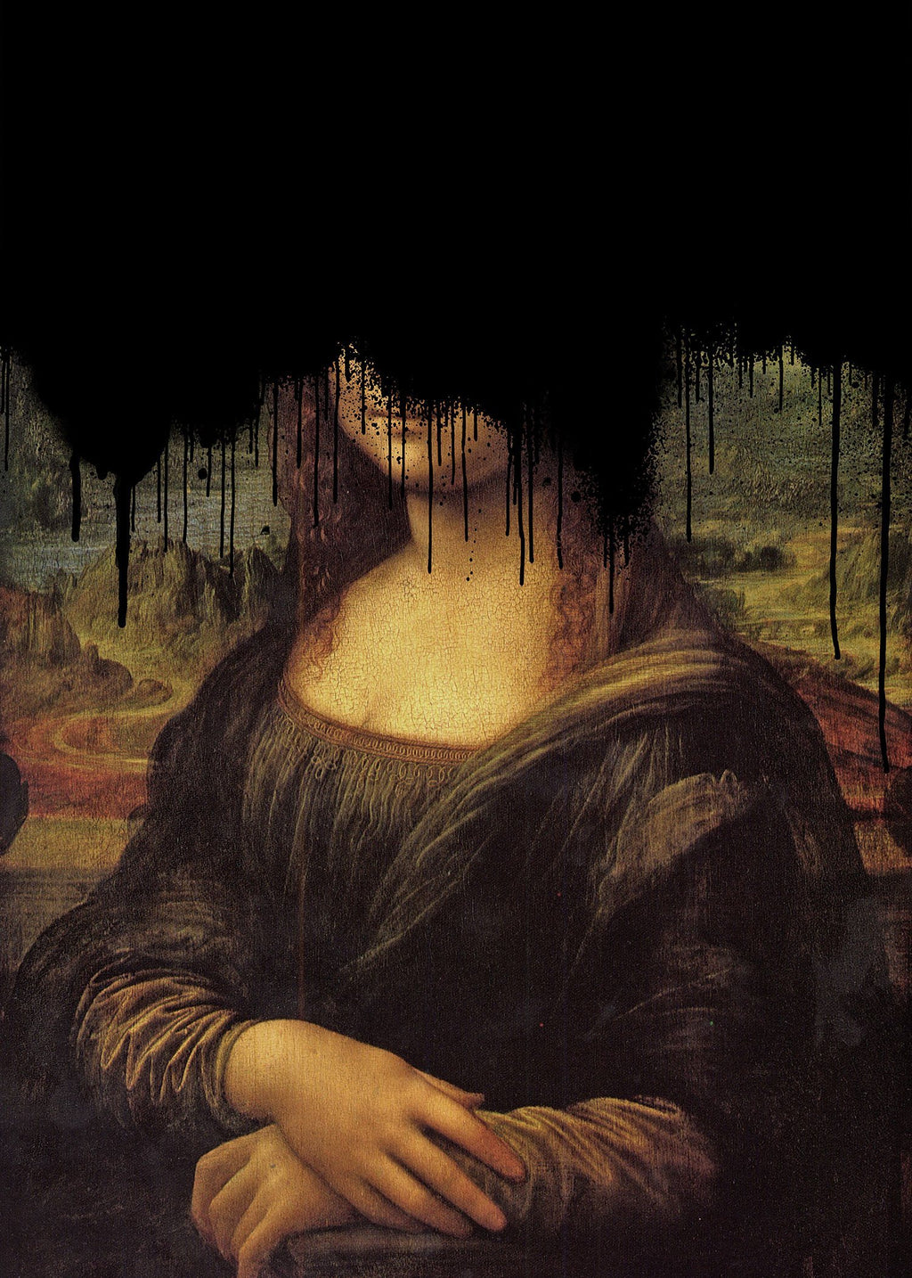 Drippy Mona Lisa Black Graffiti Print