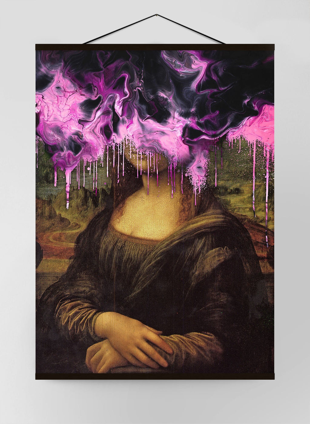 Drippy Mona Lisa Graffiti Pink Gloop Canvas Print