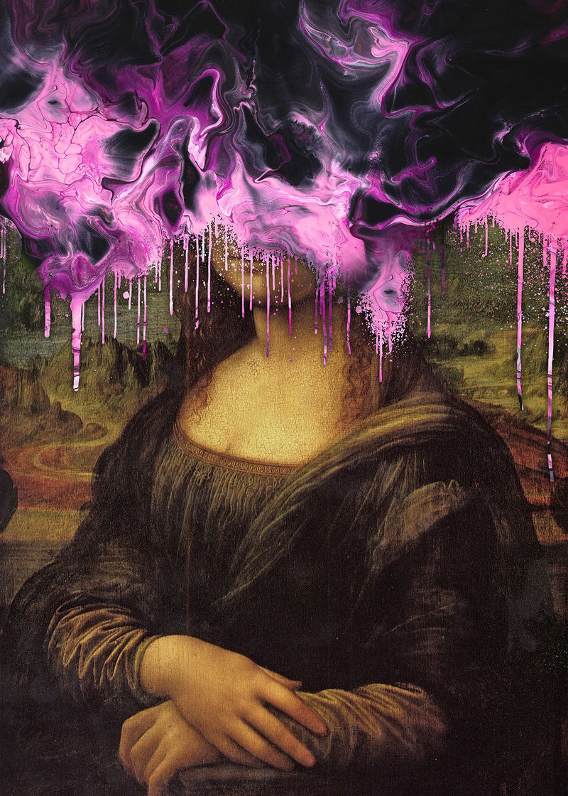 Drippy Mona Lisa Pink Gloop Print