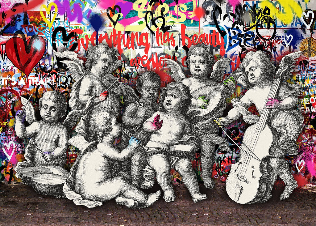 Naughty Cherubs Graffit Art Print