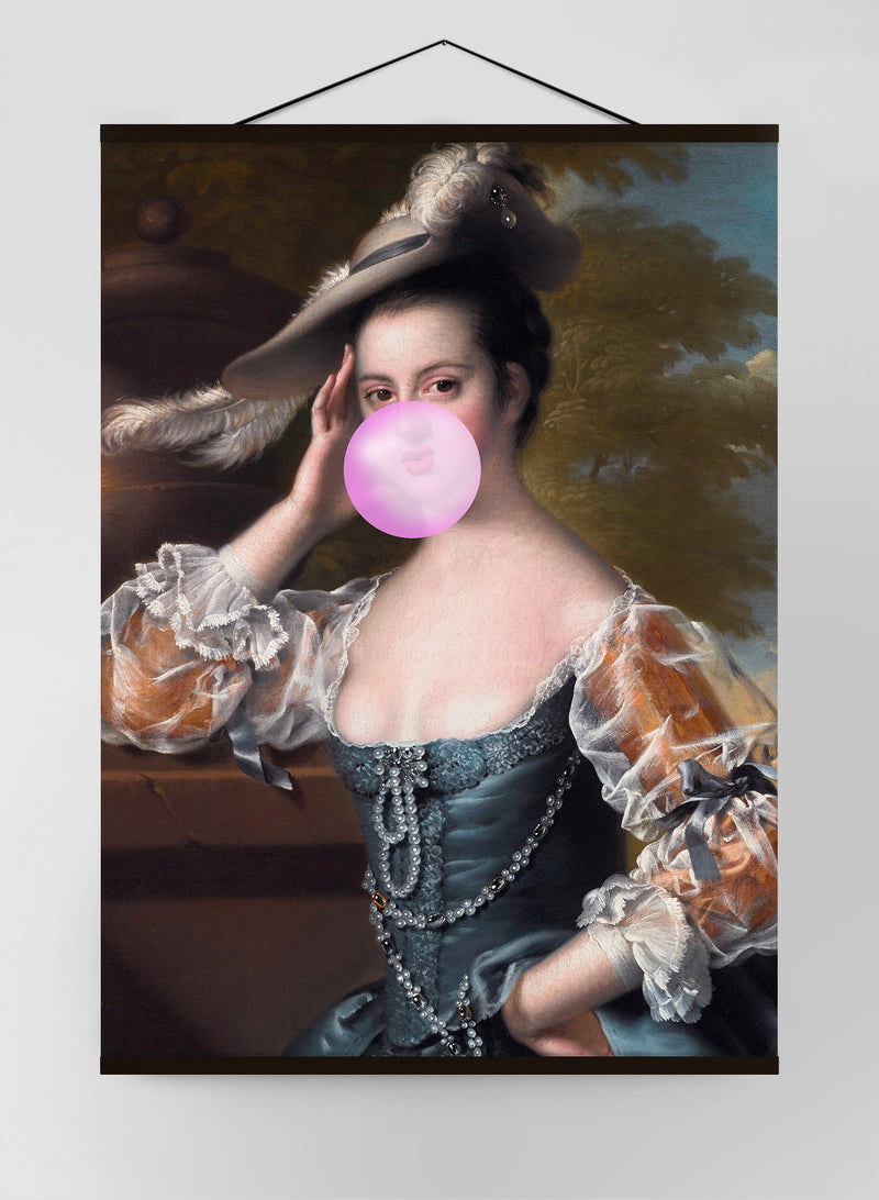 Bubblegum Lady Portrait Canvas Print