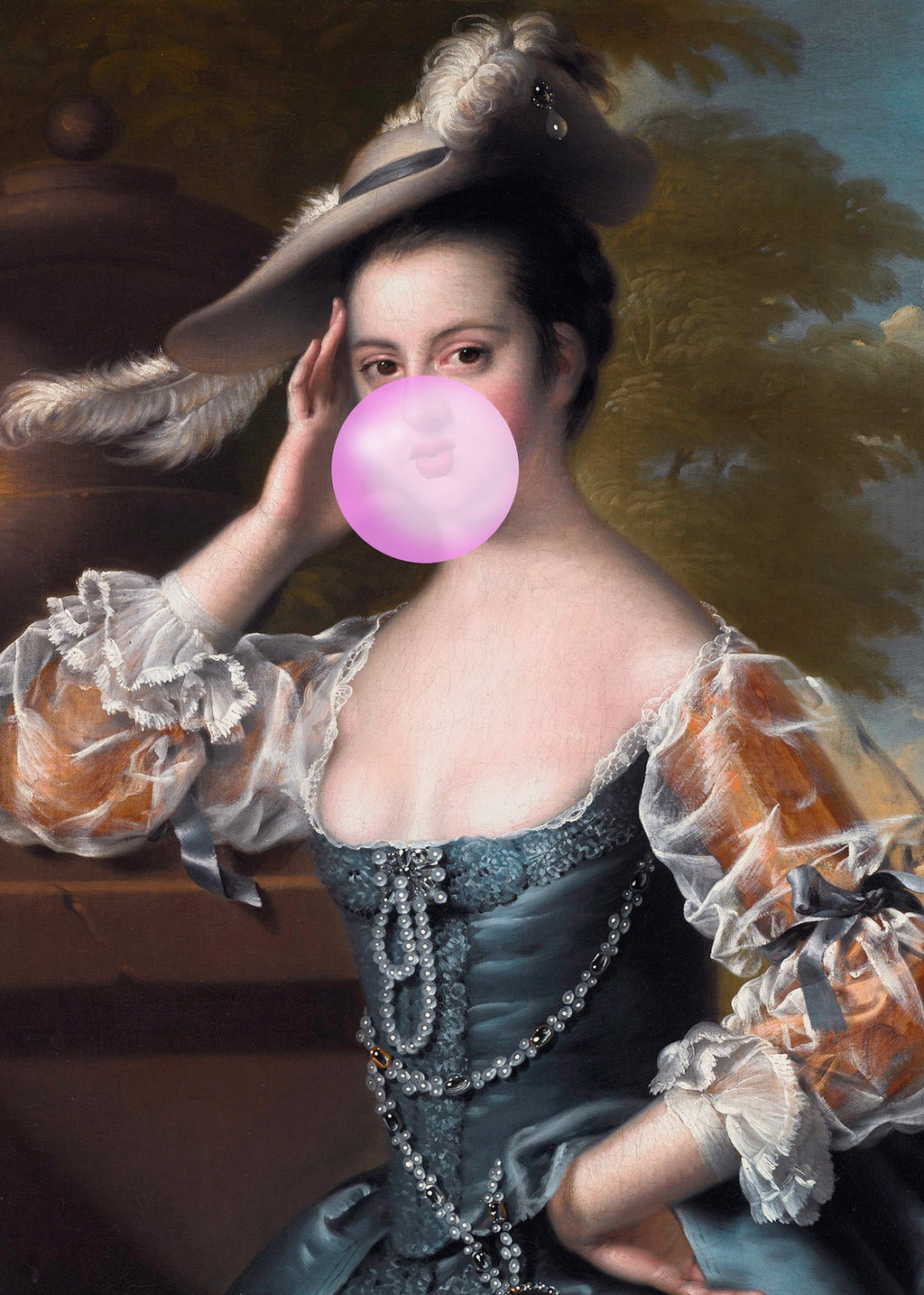 Bubblegum Lady Portrait Print