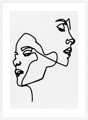 Two Faces Study Line Art Print
