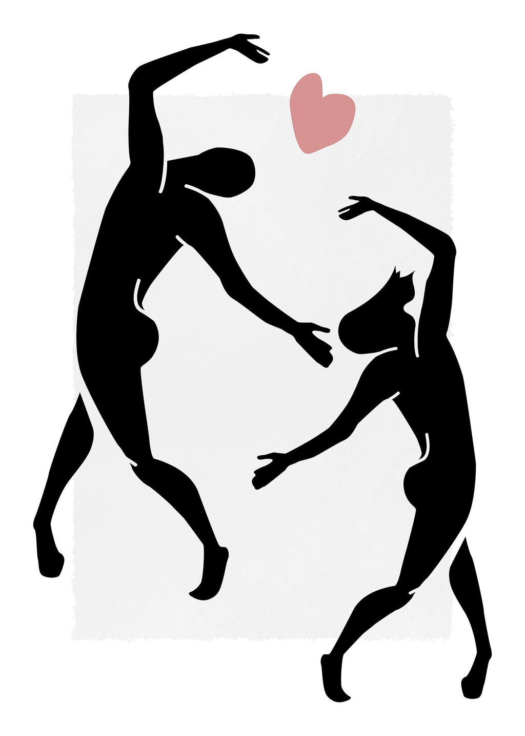 Dancers Black And White Painting Print