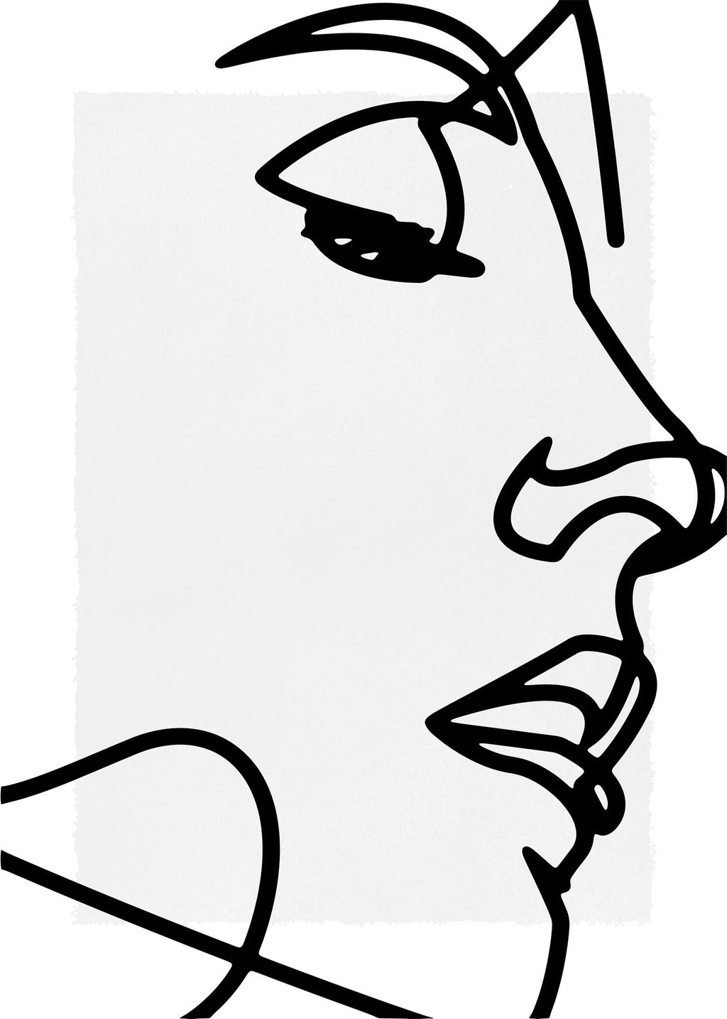 Face Close Up Line Art Print