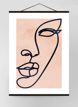 Face Study Lineart Watercolour Canvas Print