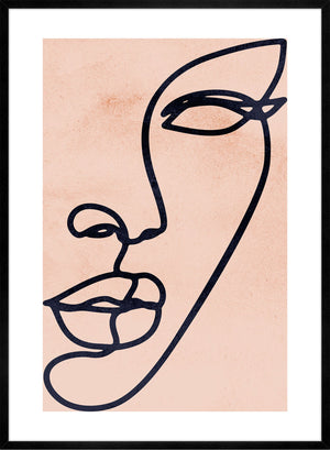 Face Study Line Art Watercolour Print