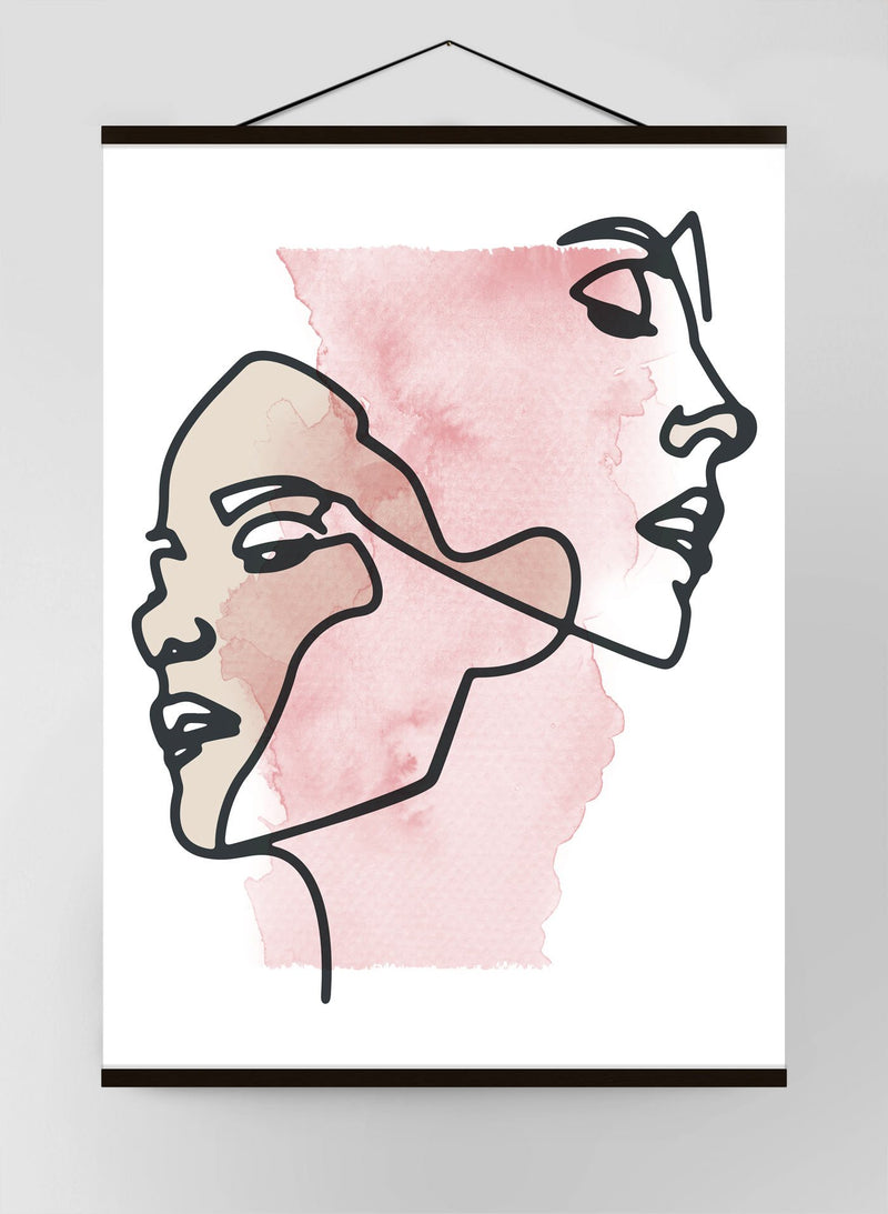 Two Faces Study Watercolour Canvas Print