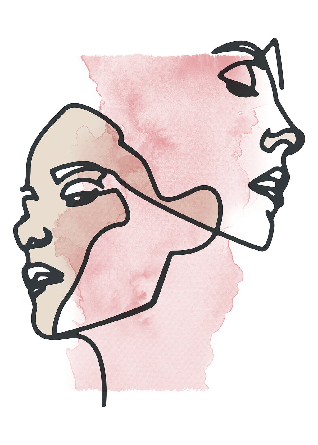 Two Faces Line Art Watercolour Print