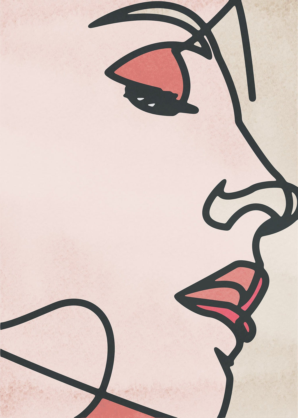 Face Close Up Line Art Watercolour Print