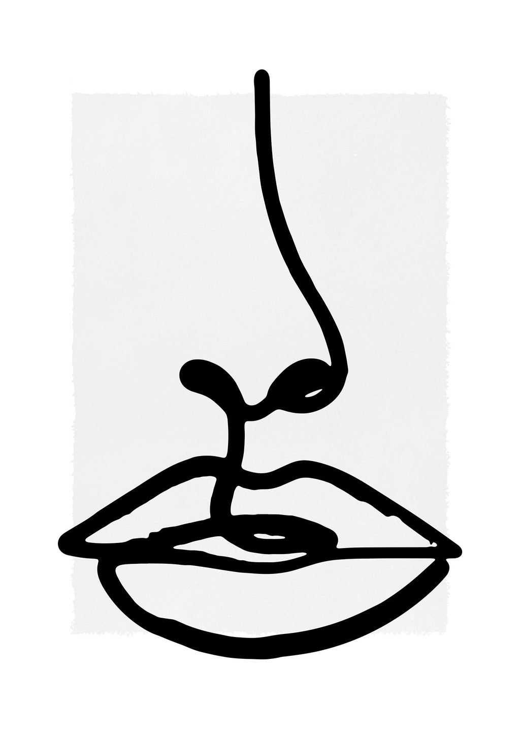 Lips Drawing Black And White Print