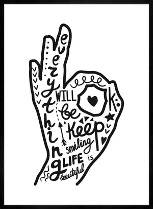 OK Fingers Typography Black And White Print