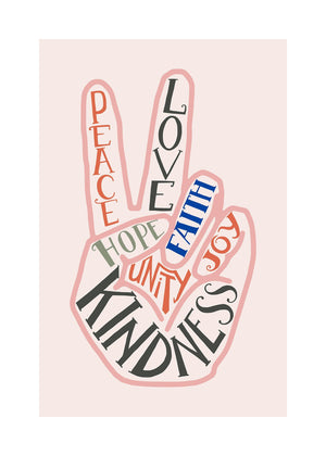 Peace Fingers Typography Block Colour Print