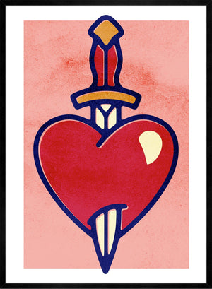 Heart And Dagger Tattoo Style Print