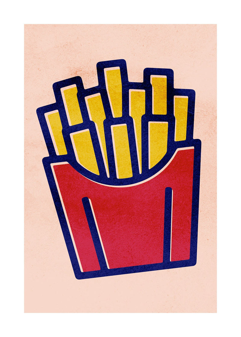 French Fries Fast Food Illustration Print
