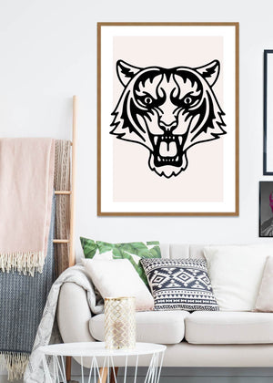 Tiger Animal Black And White Portrait Print