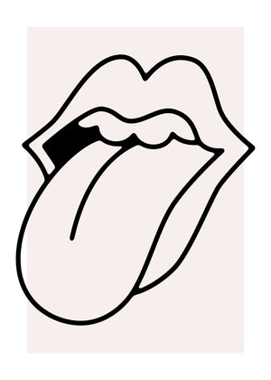 Rock Lips Tongue Black And White Print
