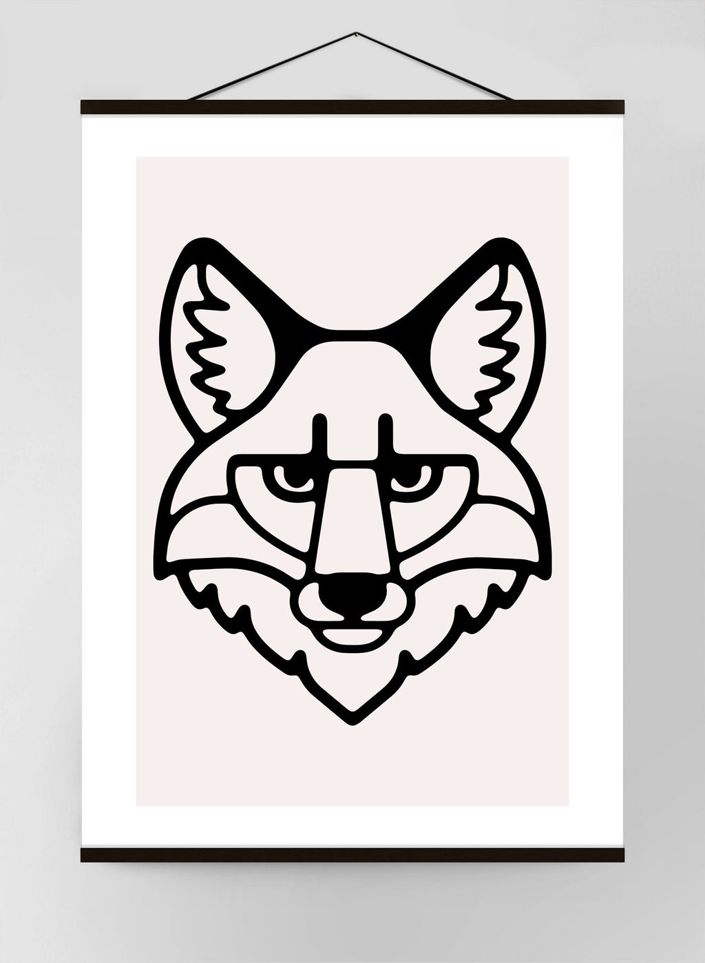 Fox Portrait Black and White Canvas Print