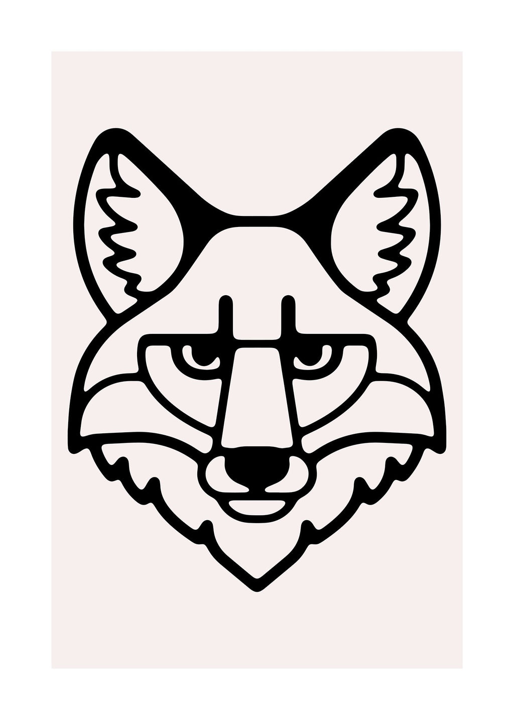 Fox Animal Black And White Portrait Print