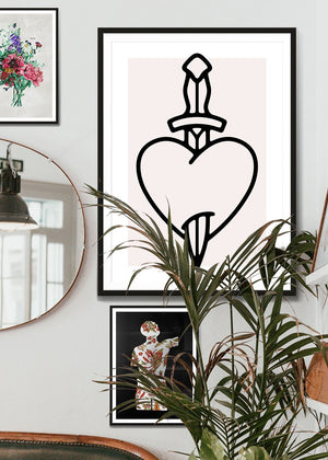 Heart And Dagger Black And White Tattoo Style Print