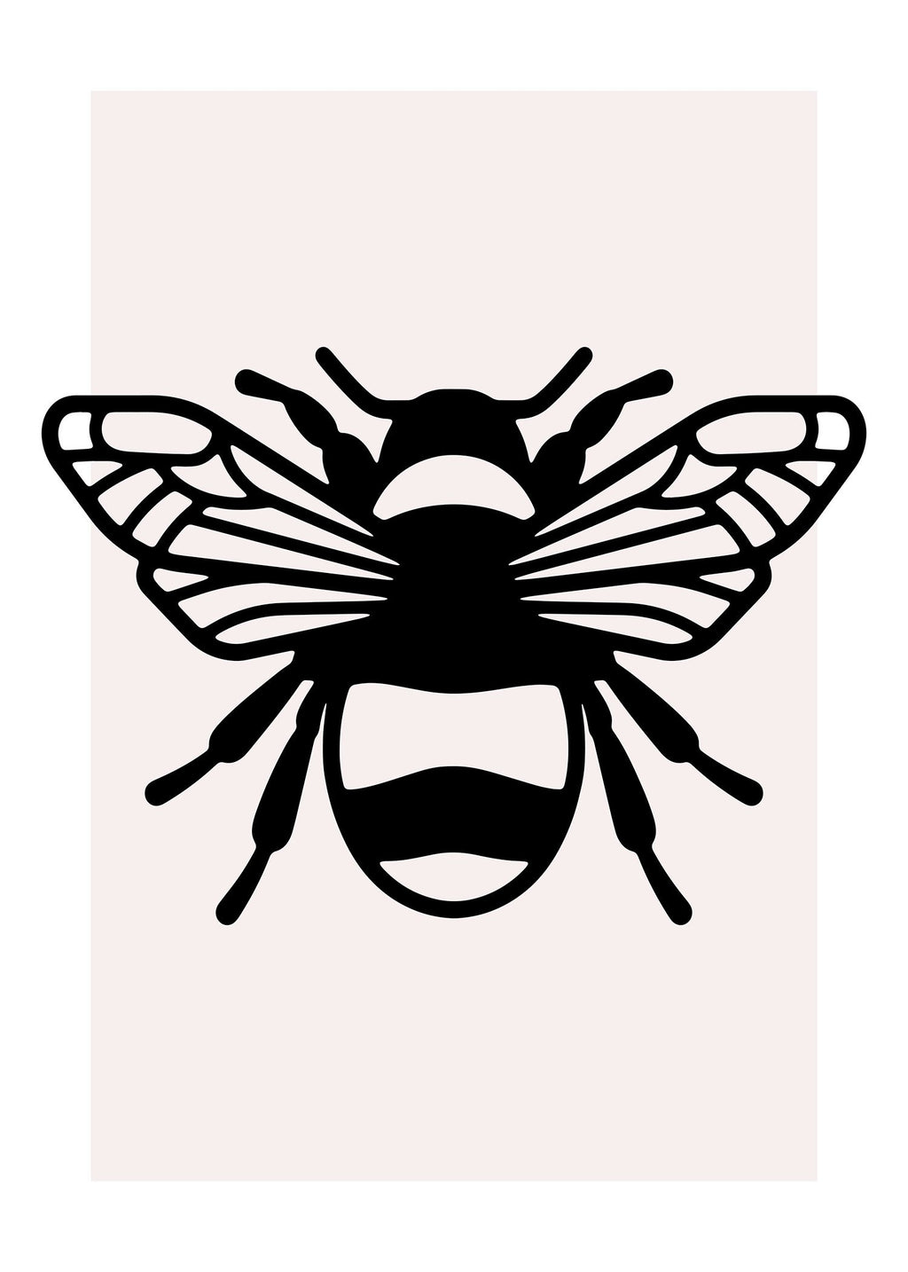 Bee Black And White Illustration Print