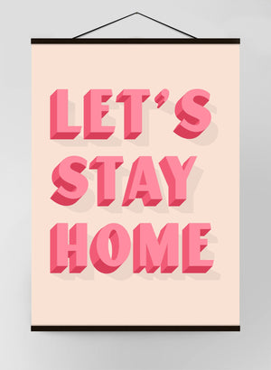 Let's Stay Home Block Pink Canvas Print