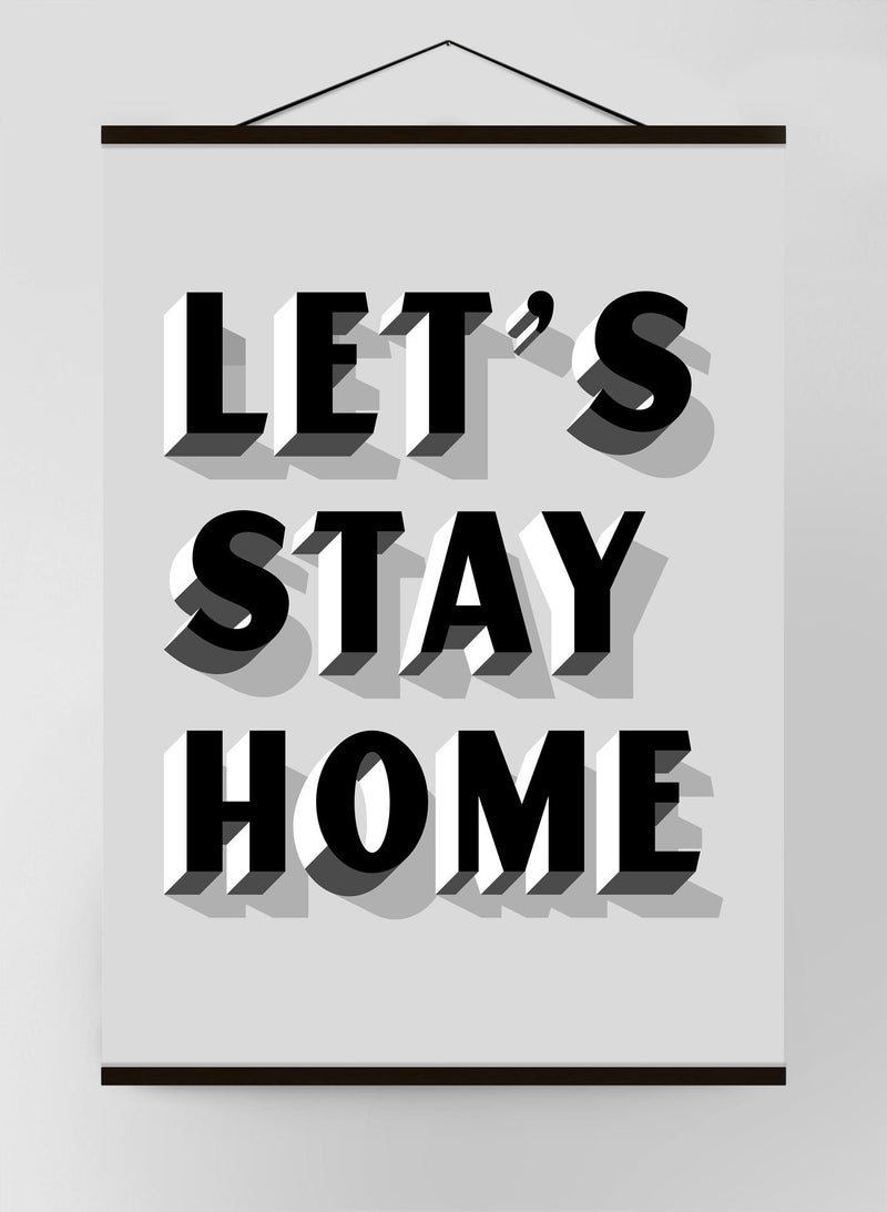 Let's Stay Home Block Grey Canvas Print