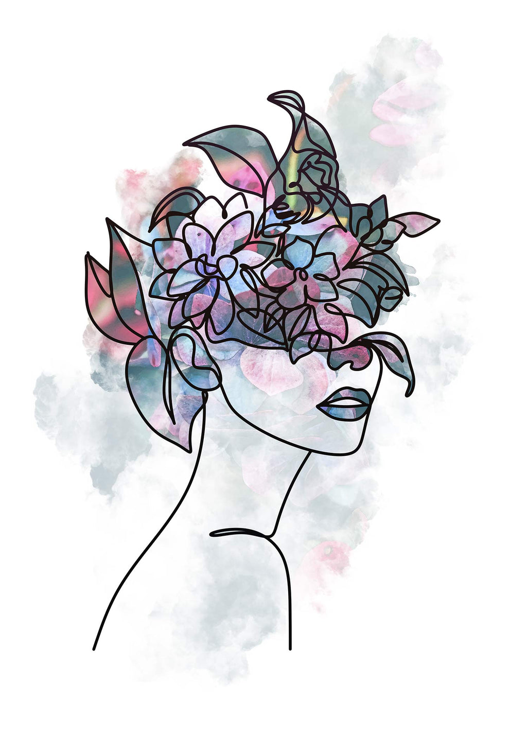 Flower Hair Line Art Print