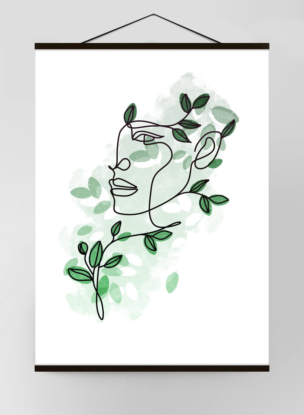 Leaves Hair Line Art Canvas