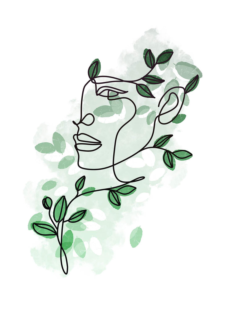 Leaves Hair Line Art Print