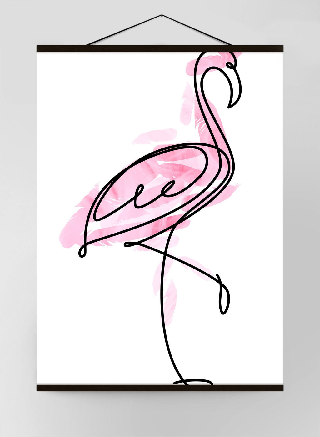 Flamingo Feathers Line Art Canvas