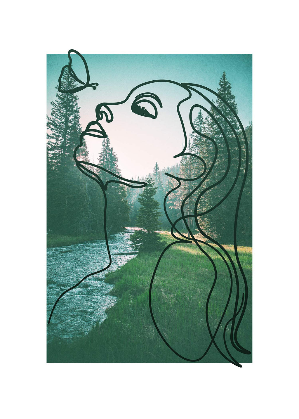 Girl With Butterfly Forest Print