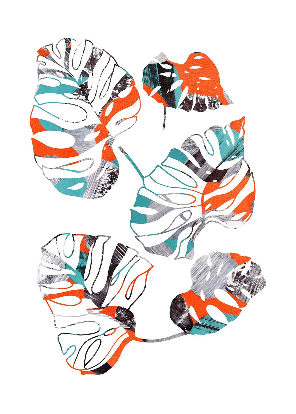 Orange And Teal Abstract Monstera Print