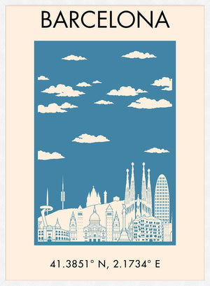 Barcelona Tourist Style Poster Print