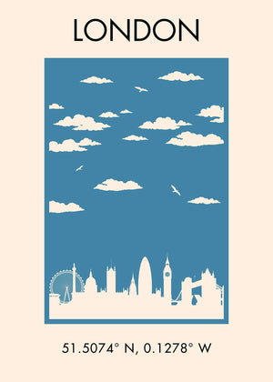 London Tourist Style Poster Print