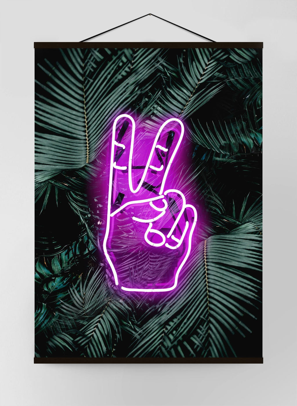 Peace Fingers Neon Tropical Leaves Canvas