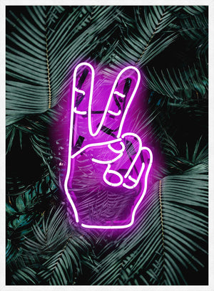 Peace Fingers Neon Tropical Art Print