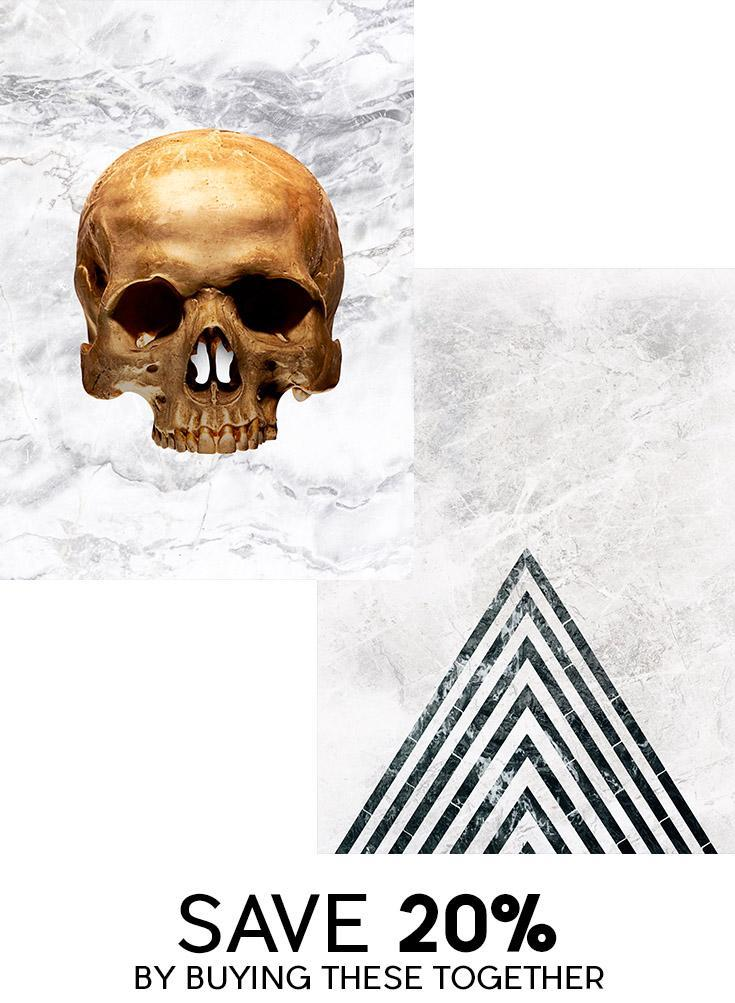 Gold Skull & Marble Point Print Bundle