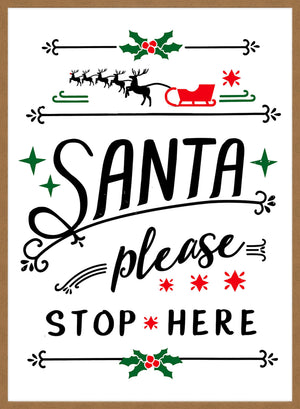 Santa Please Stop Here Vintage Style Sign
