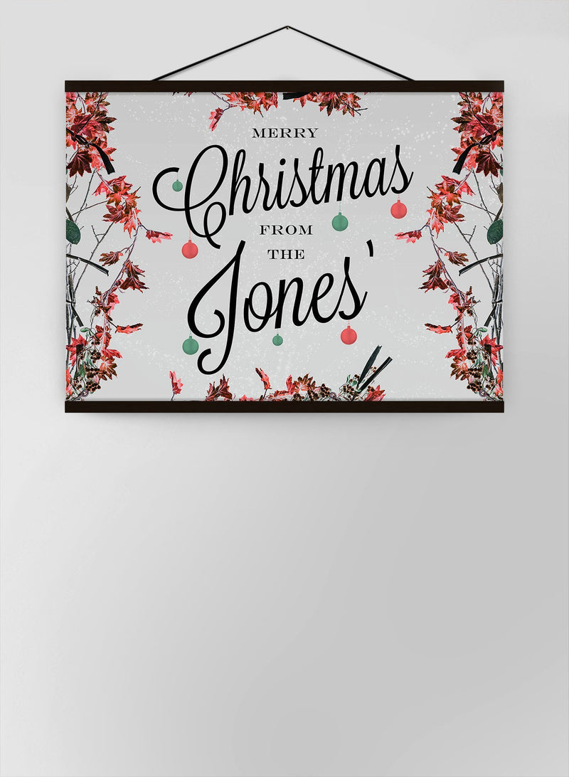 Custom Merry Christmas Light Script Canvas